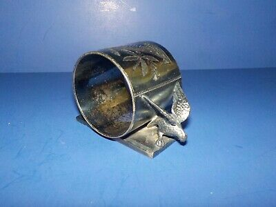 Victorian Silverplate Napkin Ring W Double Eagles Meriden Monogram Hattie