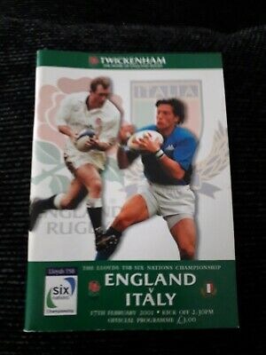 2001-England V Italy-Six Nations-Rugby Union Programme-Vgc