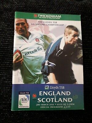 2001-England V Scotland-Six Nations-Calcutta Cup-Rugby Union Programme-Vgc