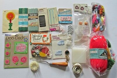 Collection of Do Dads Beads Patches Yarn Thread Bindings etc