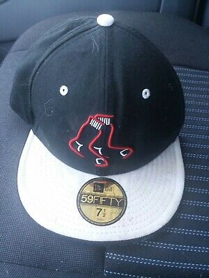 New Era 59Fifty MLB Boston Red Sox Black Red Fitted Hat Cap NWT