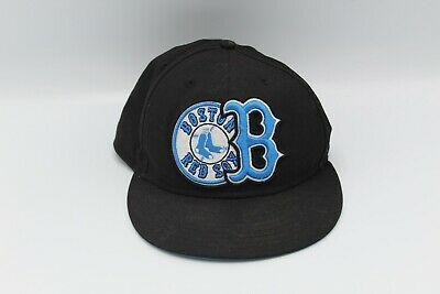 NEW ERA 59Fifty MLB Baseball Fitted Hat Boston Red Sox Light Blue Letter Cap