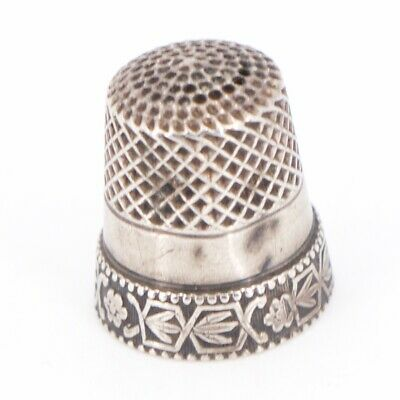 VTG Sterling Silver - WEBSTER Flower Sewing Thimble Size 7 - 2.5g