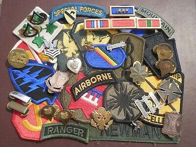 Junk Drawer Military Airborne US Army Navy Crest Ribbon Rank Patch Badge Pin LOT