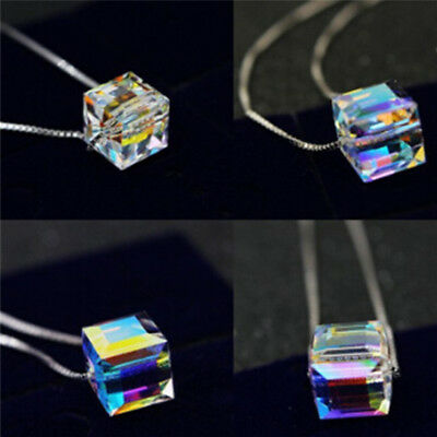 Fashion Womens Jewelry Magic Cube Crystal chain Necklace Pendant Gift JA