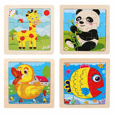 Kids Baby Toddler Wooden Cartoon Animal Puzzle Toy Early Educational Gifts