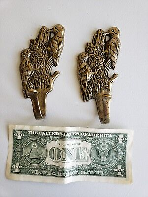 Pair Of Vintage Solid Brass Woodpecker Bird Hooks Coat  Hooks With Screws (7Eb)