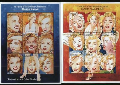 St. Vincent & The Grenadines Remembers & Salute Marilyn Monroe Stamps Sheets MNH