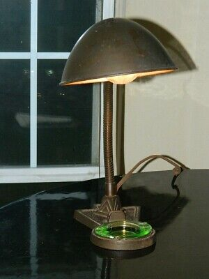 Antique Art Deco signed & numbered Eagle gooseneck desk lamp with glass ashtray
