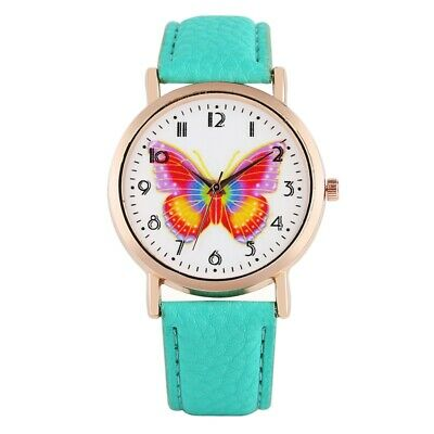 Quartz Watch Analog Wristwatch Leather Band Butterfly Dial Stainless Steel Case
