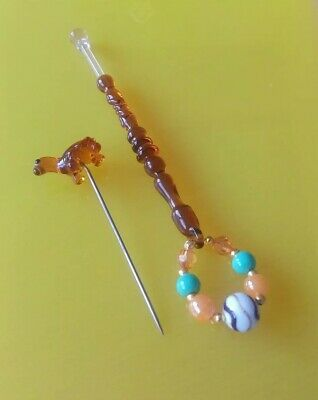 Orange/Tan Glass Lace Bobbin & Tortoise Pricker. Spangles