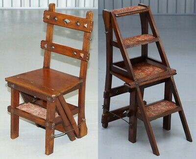 English Oak Library Chair Metamorphic Steps Circa 1890 Arts & Crafts Carpet Line