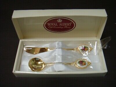 Royal Albert Old Country Roses Gold Plated Spoon & Butter Knife Boxed Excellent