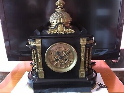 Ornate Vincenti Et Cie French Victorian Gong Strike Dome Clock With Gong Chimes