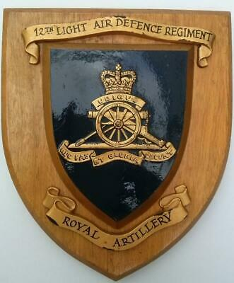 12th Light Air Defence Regiment Royal Artillery Hand Painted Wall Plaque Shield