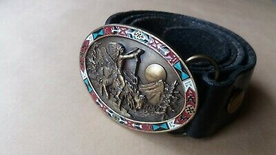 Vintage Bergamot Native American Brass & Enamel Belt Buckle  &  Belt - 1992