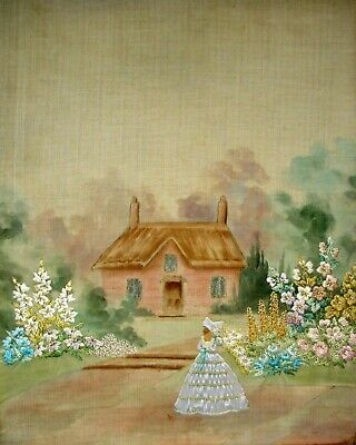 Antique Hand Embroidered Painted Linen Unframed Picture Crinoline Lady In Garden