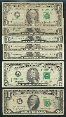 "USA: 1963A-1995 $1, $5 & $10 ""SET OF 7 DIFFERENT BY DATE"". Includes Lucky No"