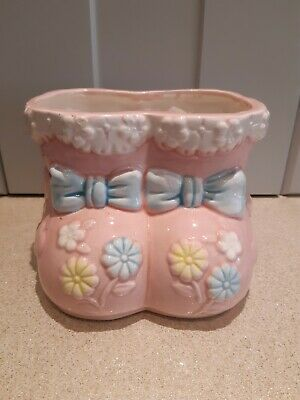 Flower Arrangement Pot Ceramic Booties New Baby GIRL CELEBRATION FLORAL GIFT