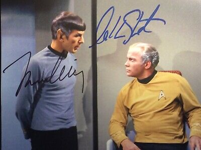 Leonard Nimoy Beautiful 8-10 Signed Photo William Shatner Star Trek Wow