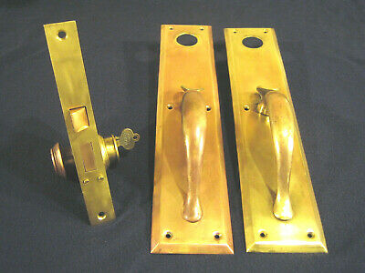 Antique Entry Mortise Lock Brass Pull Handles w/ thumb Latch Cylinders - EARLE