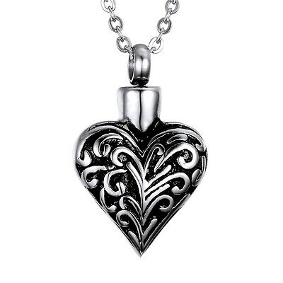 Black Silver Floral Heart Stainless Steel Cremation Urn Pendant Necklace
