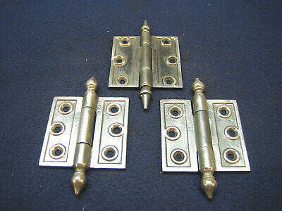 "(3) Antique Victorian Cast Iron Eastlake 3 X 3"" Steeple Finial Hinges 1880's"