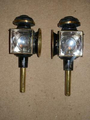 Antique Pair Of English Brass Furnisht Candle Carriage/Coach Lamps