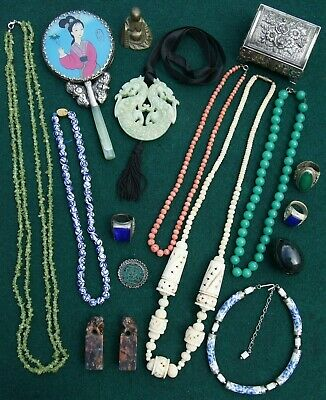 Job Lot Oriental Chinese Japanese Collectables & Jewellery inc Sterling Silver