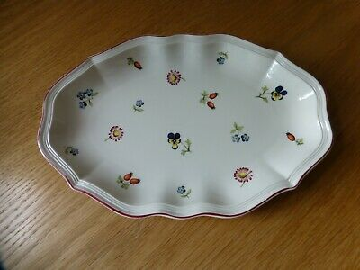 """Villeroy And Boch Luxembourg """"Petite Fleur"""" Oblong Scalloped Dish"""