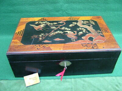 ORIGINAL C19th ANTIQUE JAPANESE LACQUER  MARQUETRY WRITING SLOPE with DRAWER vgc