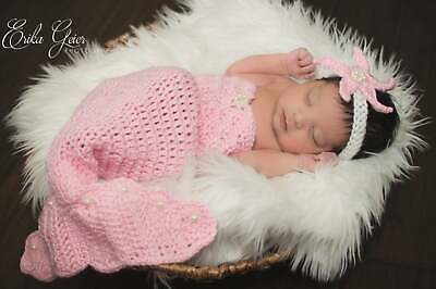 Crochet Newborn Mermaid Outfit with Starfish Headband,