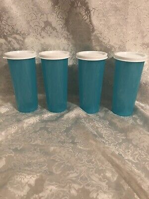 Tupperware Set Of 4 12 Oz Straight Sided Tumblers Blue w/White Seals Brand New!