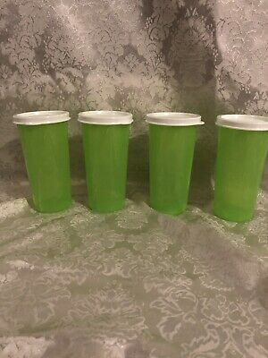 Tupperware Set Of 4 9 Oz Straight Sided Tumblers Green w/White Seals Brand New!