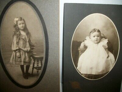 Antique Pair of Cabinet Photographs Five Year Old Girl  & Baby Madison, Wis.