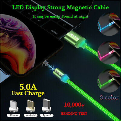 Magnetic LED Flowing Light Up Cable Type C Micro USB Fast Charging Charger Cable