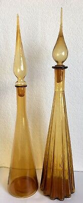 Pair Of Retro Mcm Amber/Yellow Art Glass Genie Bottle Empoli Vintage Decanters