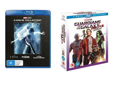 Marvel Lot THOR 3-Movie Collection & Guardians of the Galaxy box set Blue Ray US