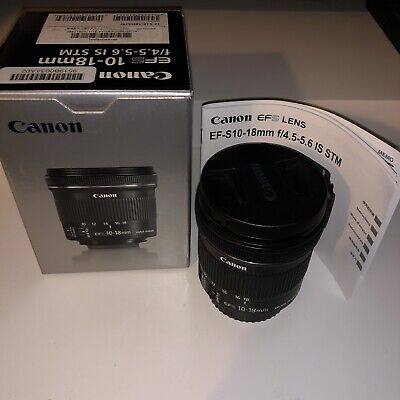 Canon EF-S 10-18mm F4.5-5.6 IS STM Autofocus Zoom With Both Lens Cap and Box