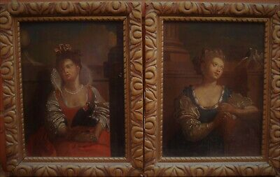 A PAIR OF 18th CENTURY ALLEGORICAL PORTRAITS - EXTREMELY RARE