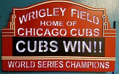 TIN SIGN Chicago Wrigley Field Rustic Sign Card Baseball Shop Store A040