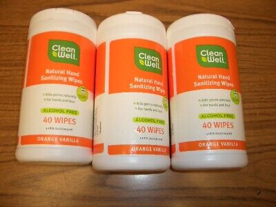 Cleanwell All-Natural Hand Sanitizing Wipes Orange Vanilla -3 Containers 40 ea
