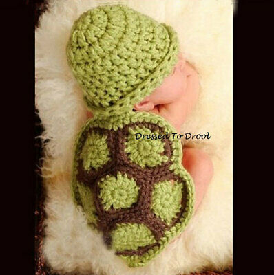Crochet Turtle Beanie Hat Outfit. Newborn Photo Props Green