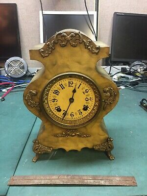 """Beautiful"" Antique New Haven Cast Iron Case Table Mantle Clock"