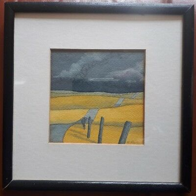 20th CENTURY VINTAGE WATERCOLOR PAINTING SIGNED ROLLING BACK COUNTRY LANDSCAPE