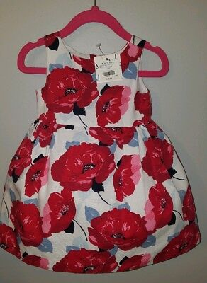 Janie & Jack Uptown Red Floral Dress Baby Girls Size 6-12 Months $69 NWT