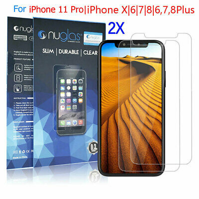 2x Nuglas Tempered Glass Screen Protector iPhone 11 Pro XS Max X 8 7 6 6S Plus