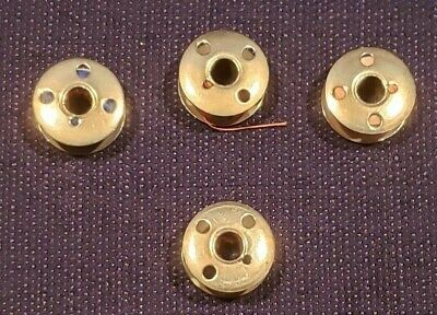 Lot of 4 Vintage Singer Sewing Machine Metal Bobbins 4 Holes Each Side