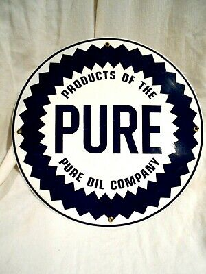 Products of the Pure Oil Company Porcelain/Heavy Gauge Enameled Sign 11 3/4