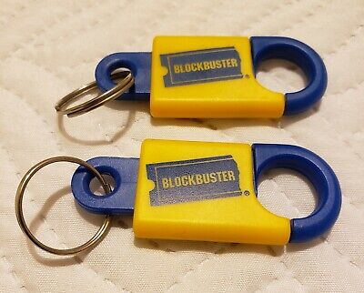 LOT OF 2 - Blockbuster Video Vintage Keychain Plastic Collectible BBV